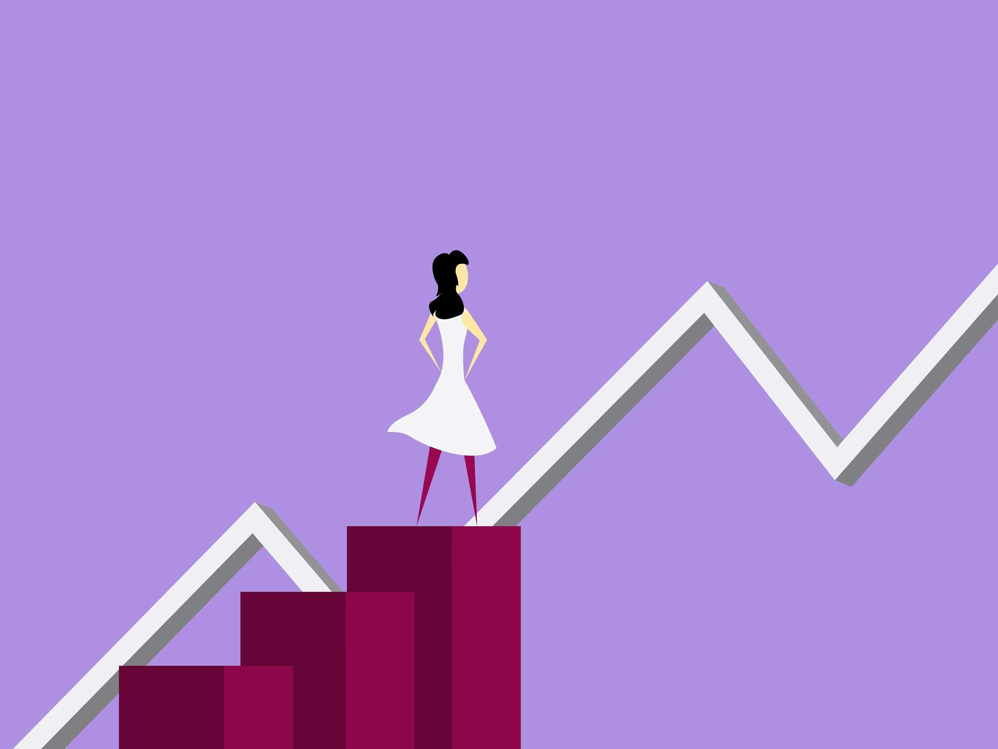 Frau steht auf Treppe_Graph_steigt_an