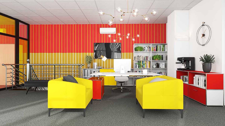 Büro_Einrichtung_bunt_gelb_rot