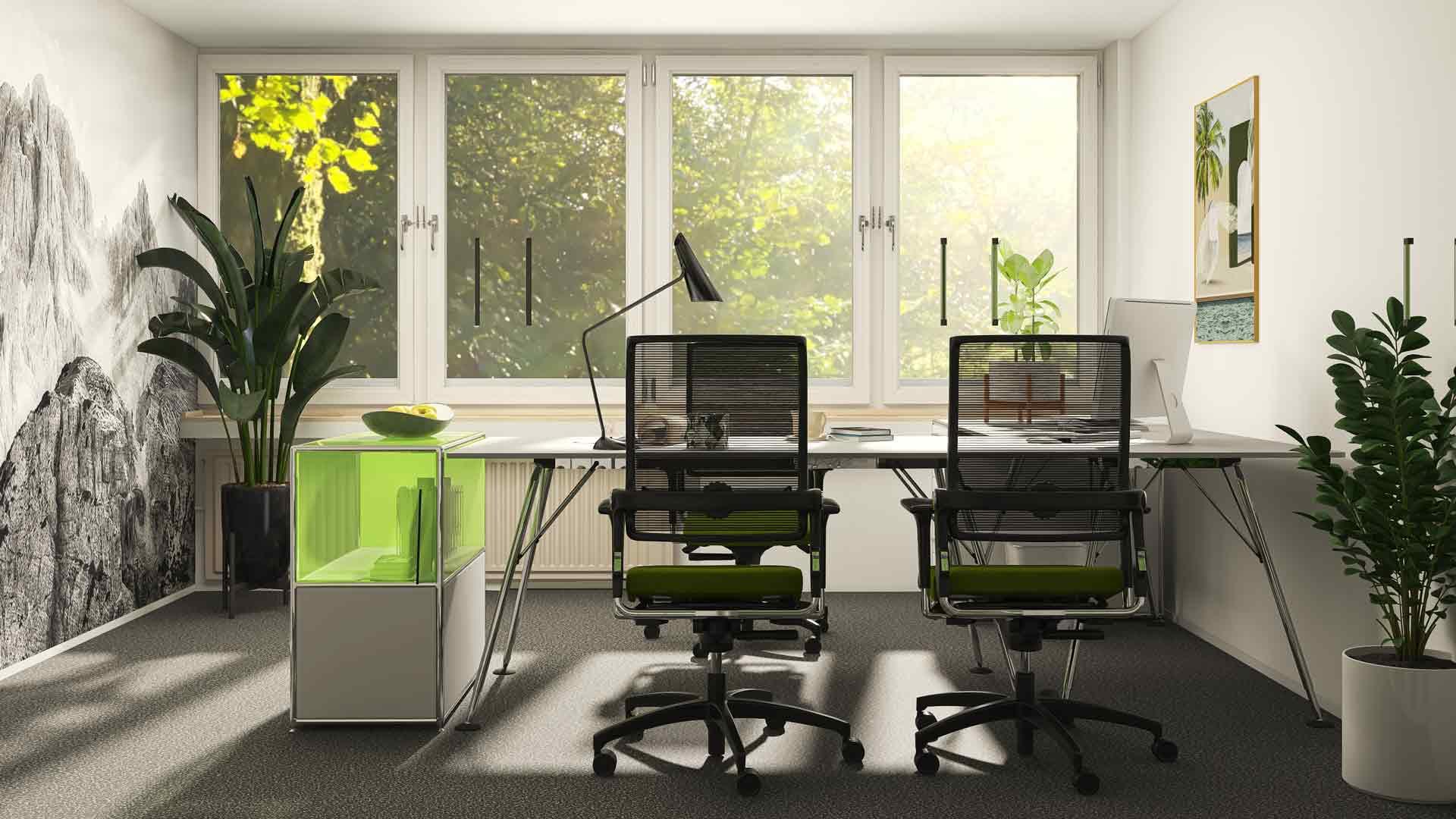 Büro_Einrichtung_hell_Glasfront_grün